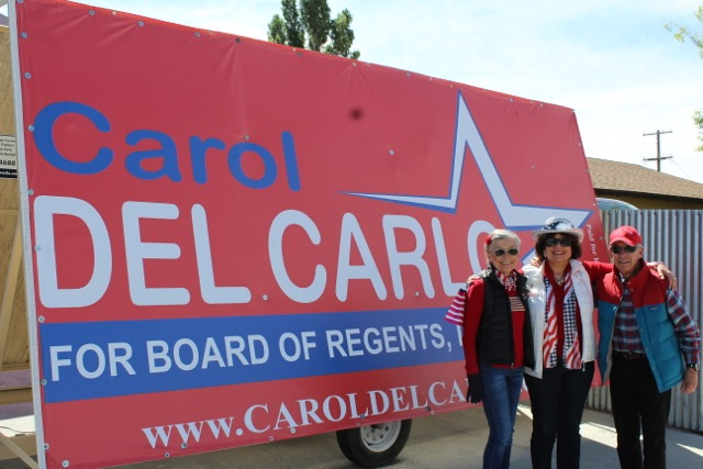 Carol Del Carlo with Contessa and Steve Price on the campaign trail.