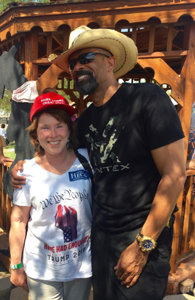 Jane Barnhart is all smiles with Milwaukee Sheriff David Clarke