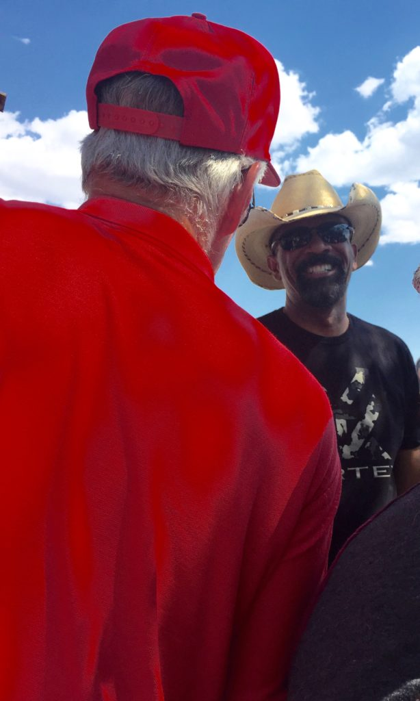 Michael Jordan shaking hands with Milwaukee Sheriff David Clarke